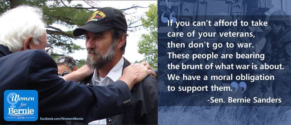 Bernie Sanders quote about taking care veterans when they come back home